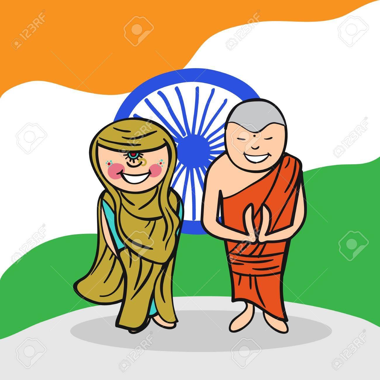 Indien Et Femme Couple De Dessin Anime Avec Un Fond De Drapeau