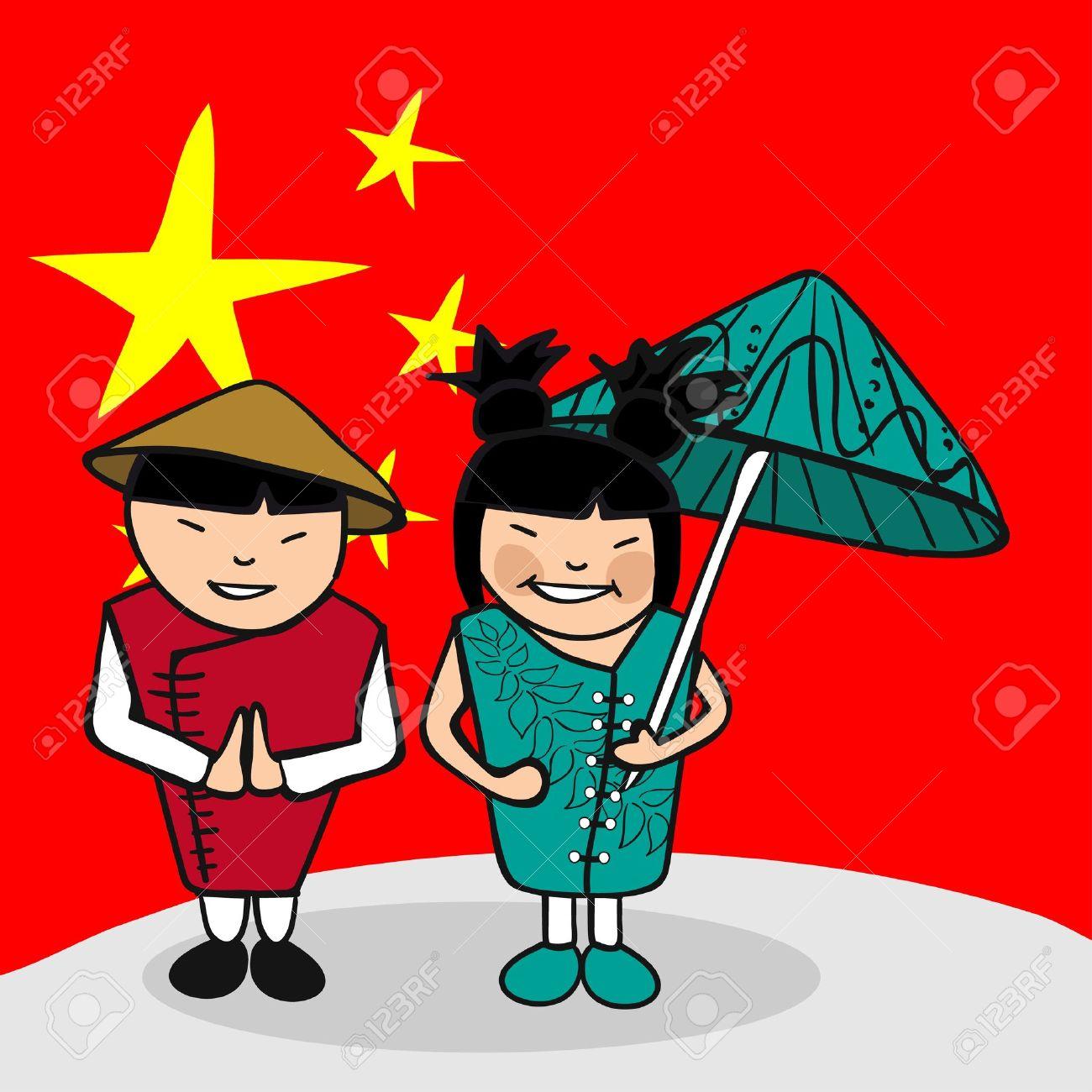 中国の男性と女性漫画のカップル国旗の背景を持つ。ベクトル イラストの簡単な編集の層します。