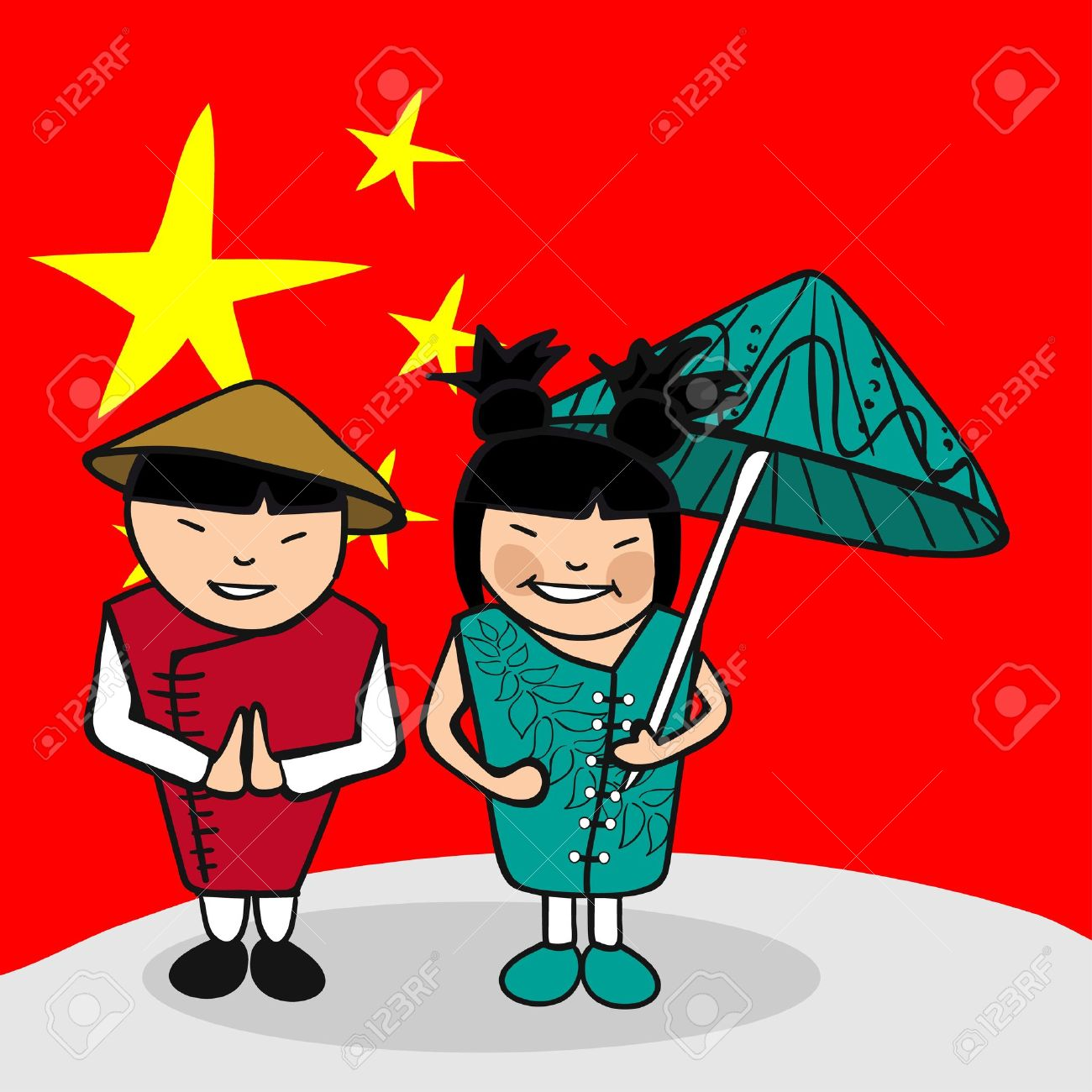 中国の男性と女性漫画のカップル国旗の背景を持つ。ベクトル イラスト