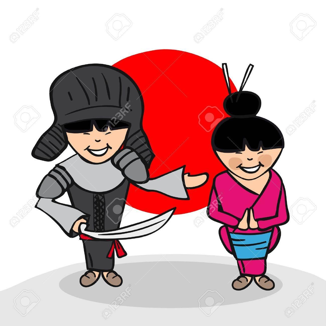 日本の男性と女性漫画のカップル国旗の背景を持つ。ベクトル イラストの簡単な編集の層します。