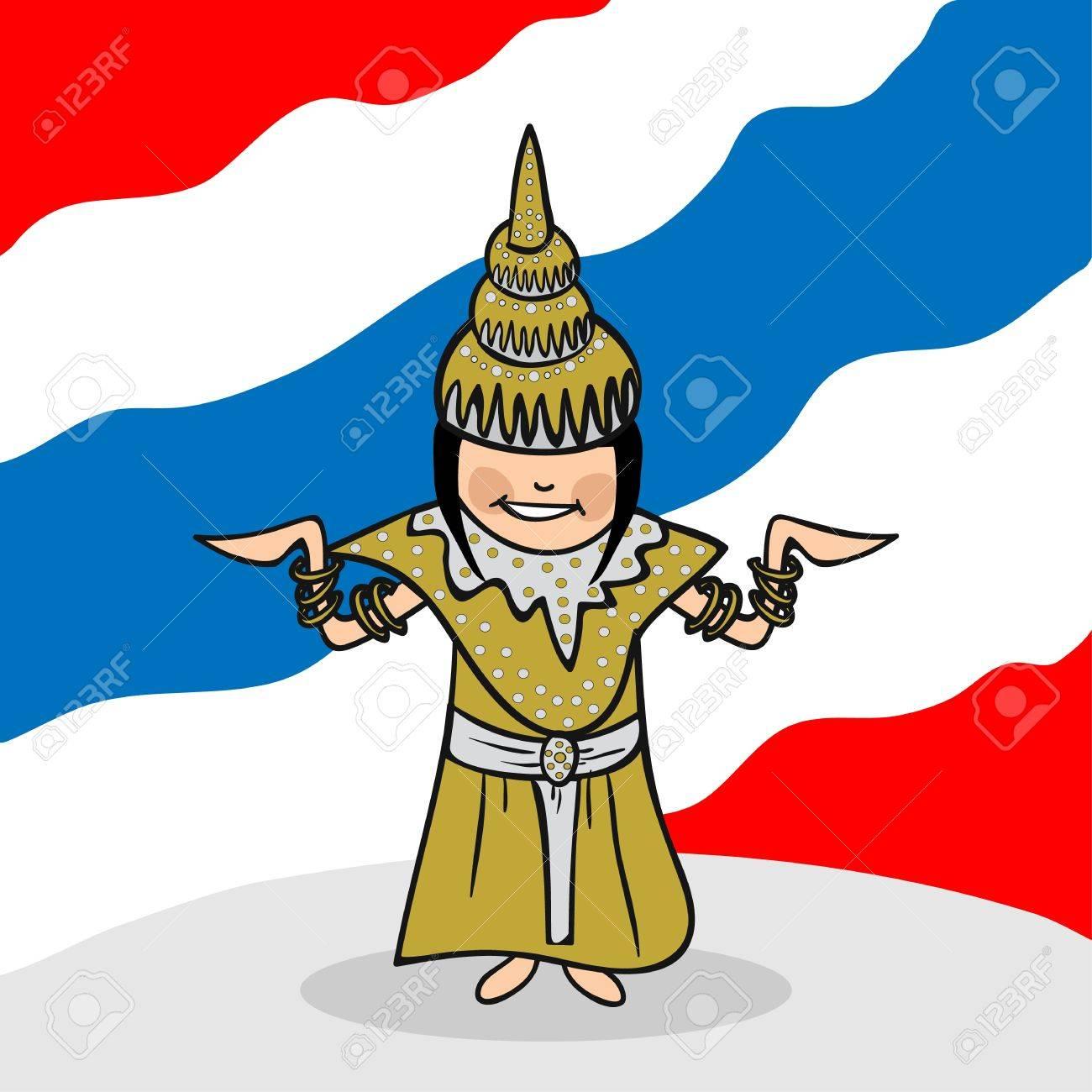 国旗の背景を持つタイの女性の漫画のカップル。ベクトル イラストの簡単な編集の層します。