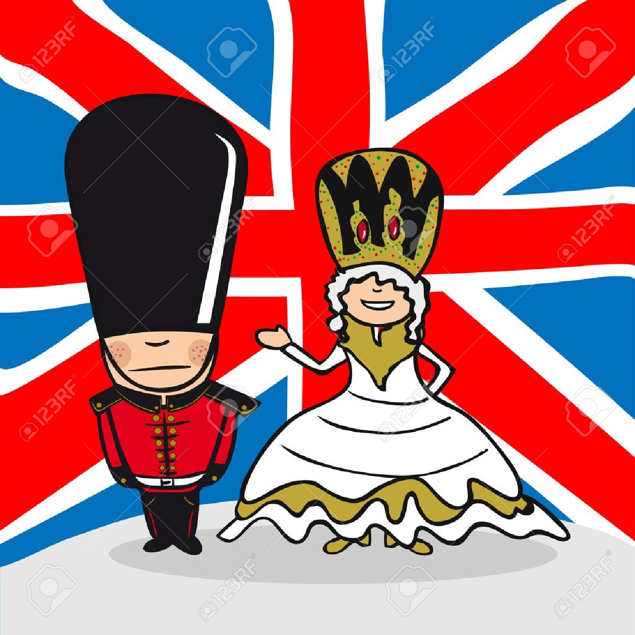 English man and woman cartoon couple with national flag background. Vector illustration layered for easy editing. Stock Vector - 20602877