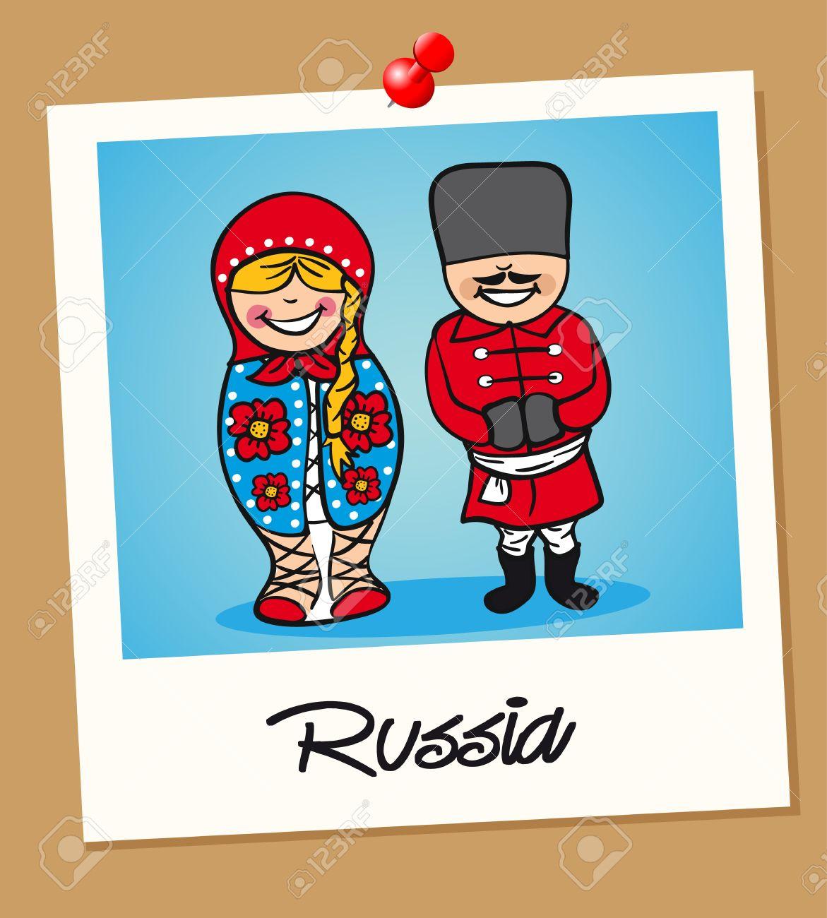 ロシア人男性と女性漫画のビンテージ インスタント フォト フレームの
