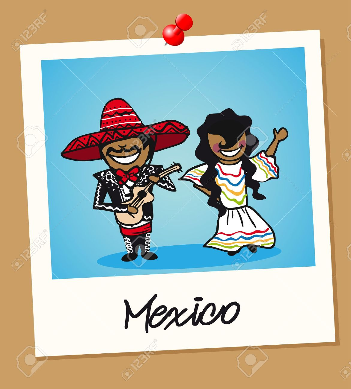 Mexican man and woman cartoon couple in vintage instant photo frame. Vector illustration layered for easy editing. Foto de archivo - 20602955