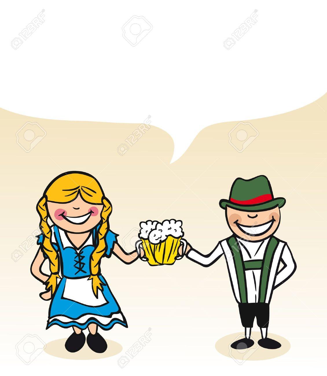 ドイツ人および女性漫画二人と対話バブル。ベクトル イラストの簡単な