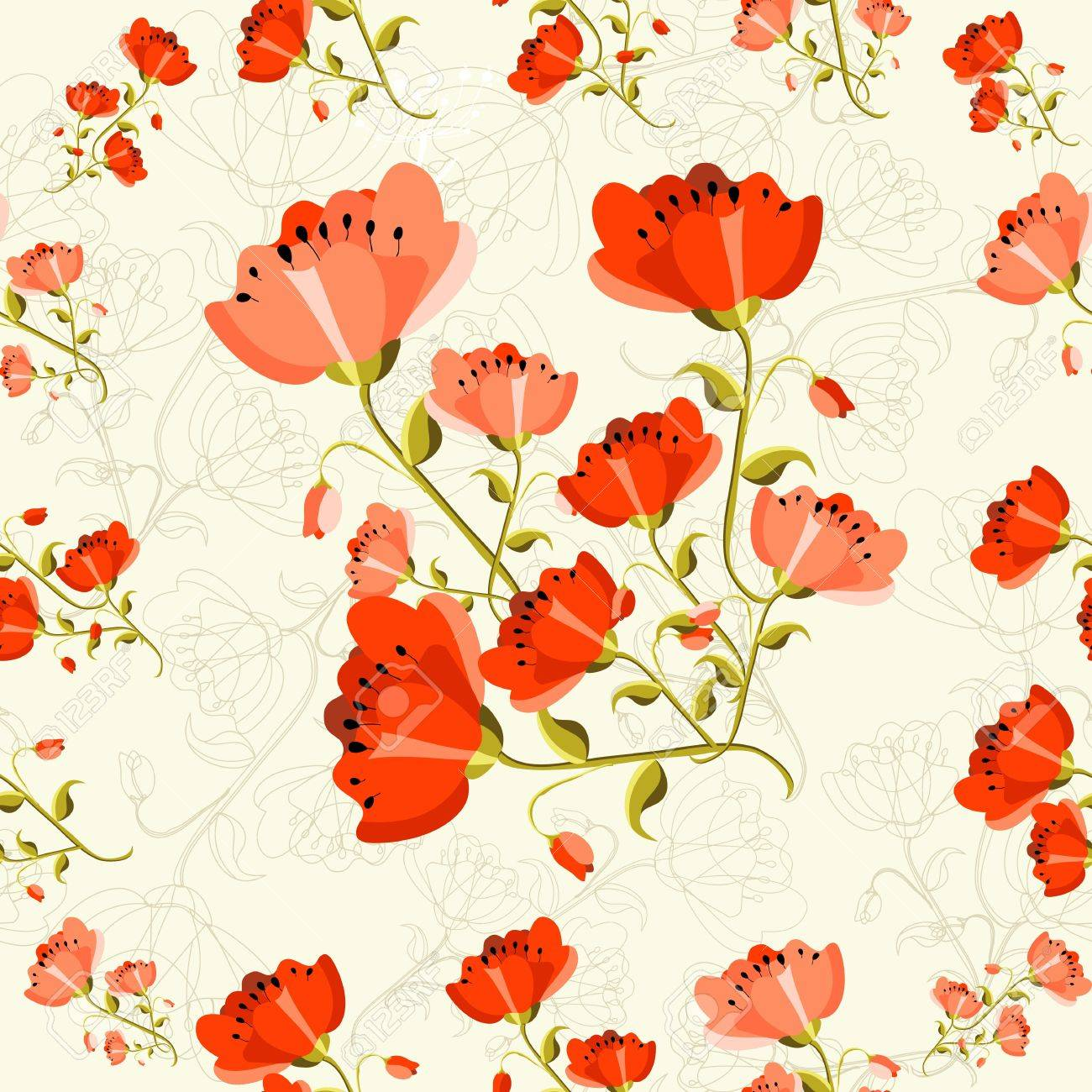 Cute seamless pattern poppy flower background. Vector illustration layered for easy manipulation and custom coloring. Stock Vector - 20603090