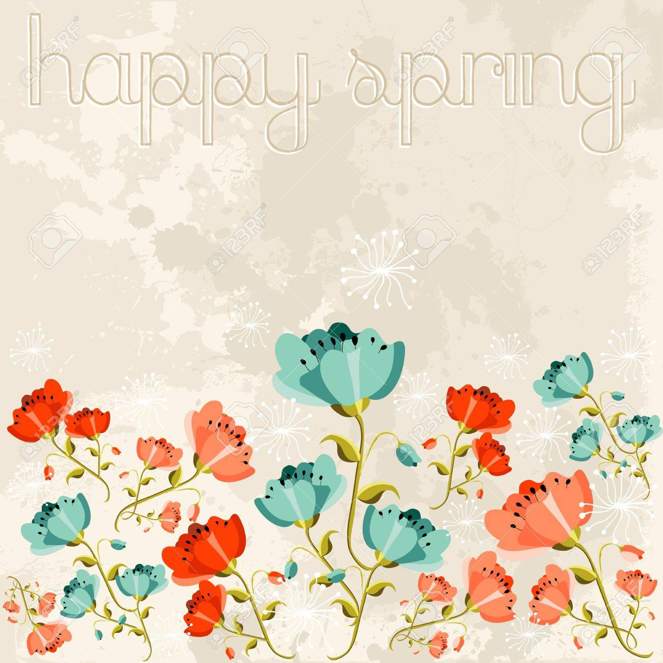 かわいい春シーズンのケシの花の背景。ベクトル イラストを簡単に操作