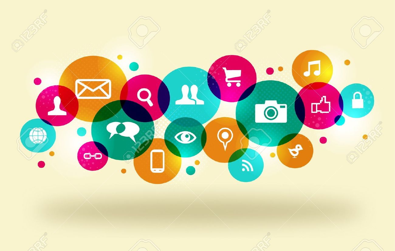 Social media icons set in colorful circle layout.  This illustration contains transparencies and is layered for easy manipulation and custom coloring. Stock Vector - 20607902
