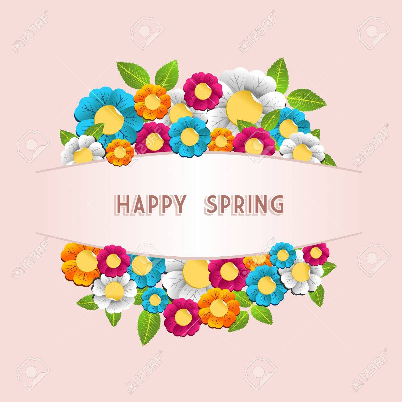 Bunte Frühlingsblumen Postkarte Hintergrund. Vektor-Illustration Für ...