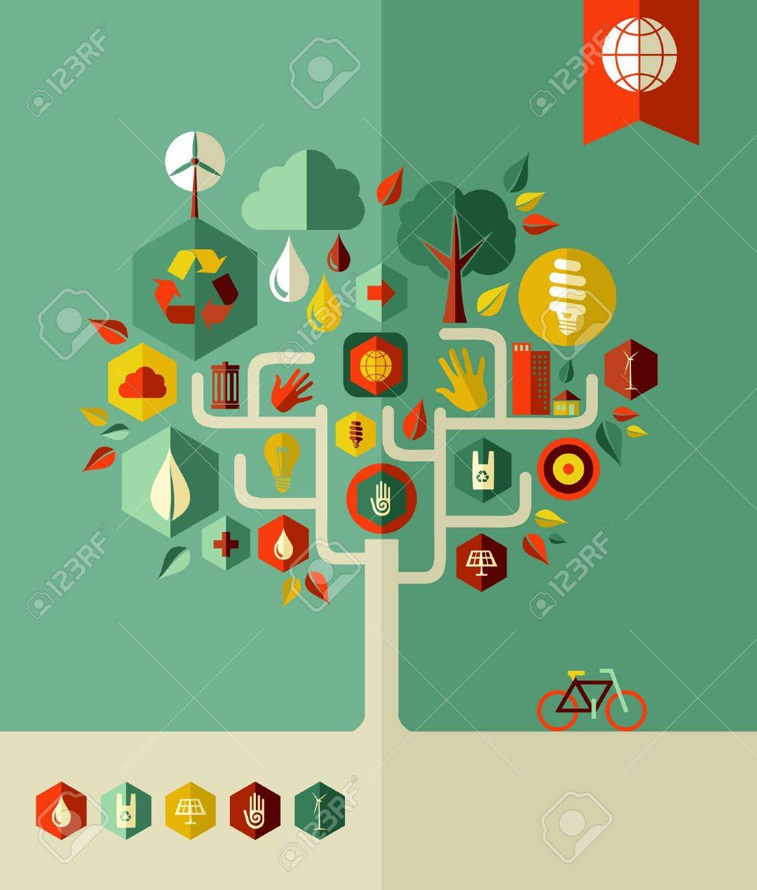 Eco conservation city conceptual tree  . Vector file layered for easy manipulation and custom coloring. Stock Vector - 20602863