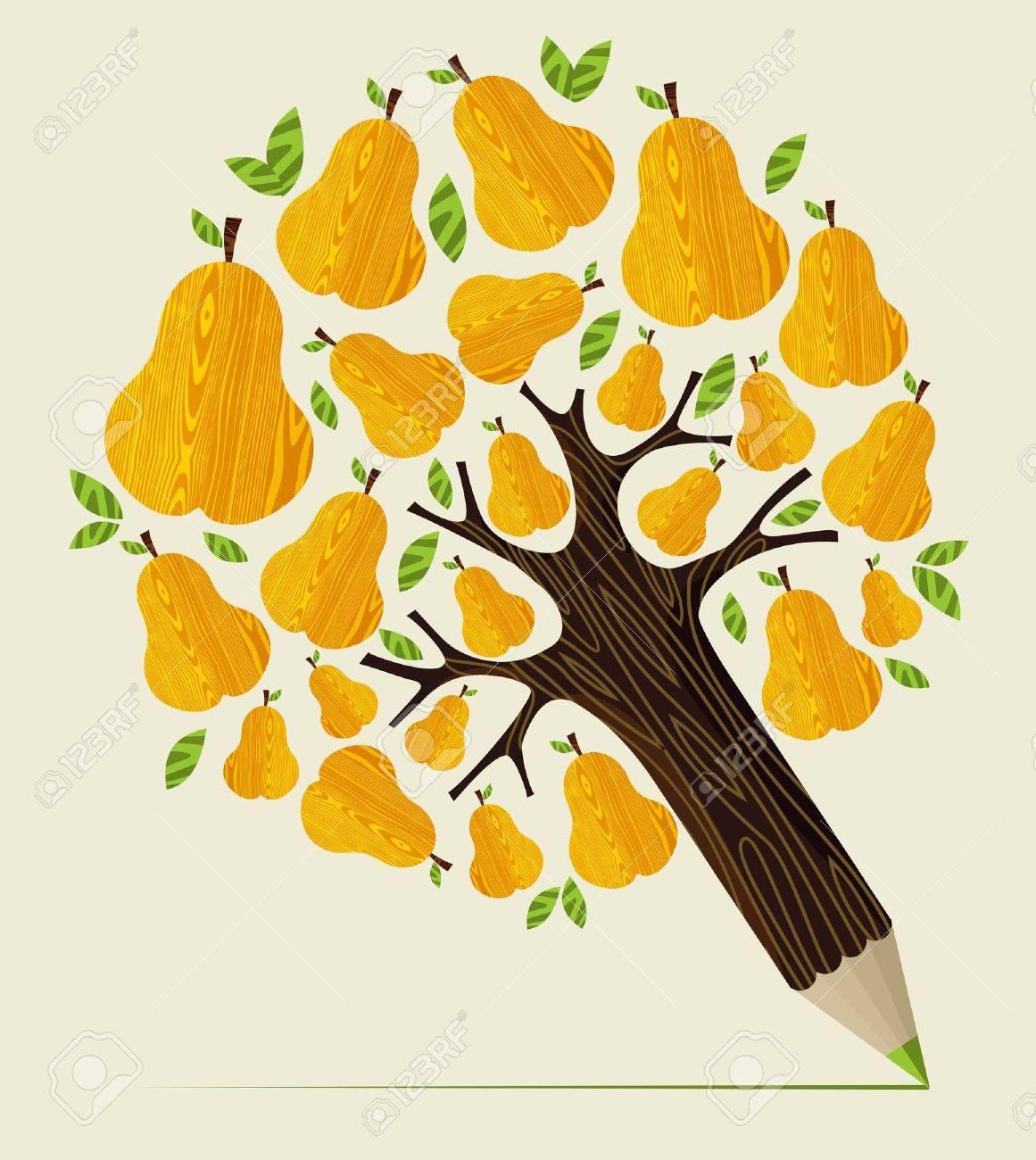 健康的な果物概念鉛筆ナシベクトル イラストを簡単に操作および
