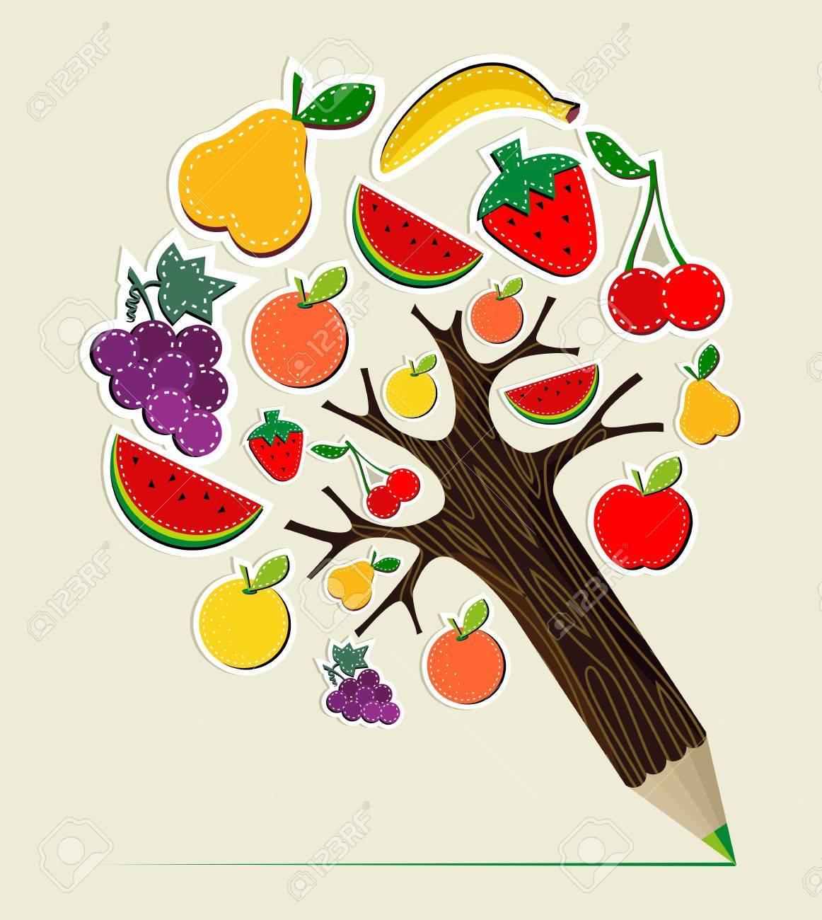健康的な果物を食べるステッチ概念鉛筆ツリーベクトル イラストを簡単