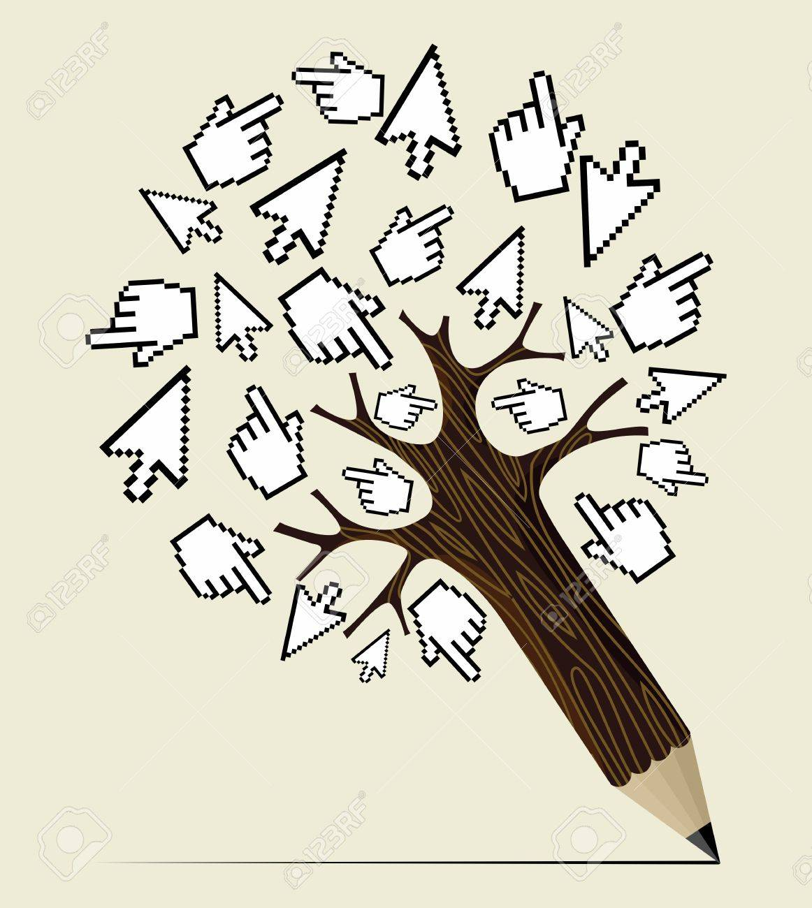Mouse over click hand and arrow concept pencil tree. Vector illustration layered for easy manipulation and custom coloring. Stock Vector - 20602614