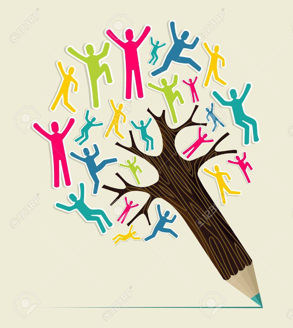 Diversity world people concept pencil tree. Vector illustration layered for easy manipulation and custom coloring. Stock Vector - 20602662