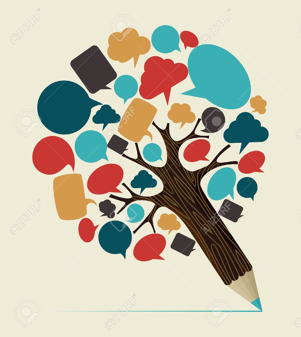Communication speech bubble concept pencil tree. Vector illustration layered for easy manipulation and custom coloring. - 20602663