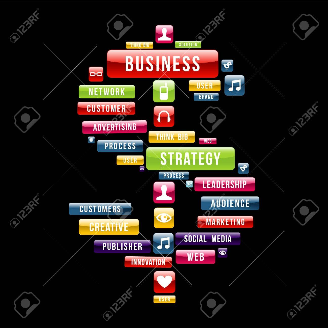 Business strategy money sign composition with glossy web buttons. Vector illustration layered for easy manipulation and custom coloring. Stock Vector - 20602533