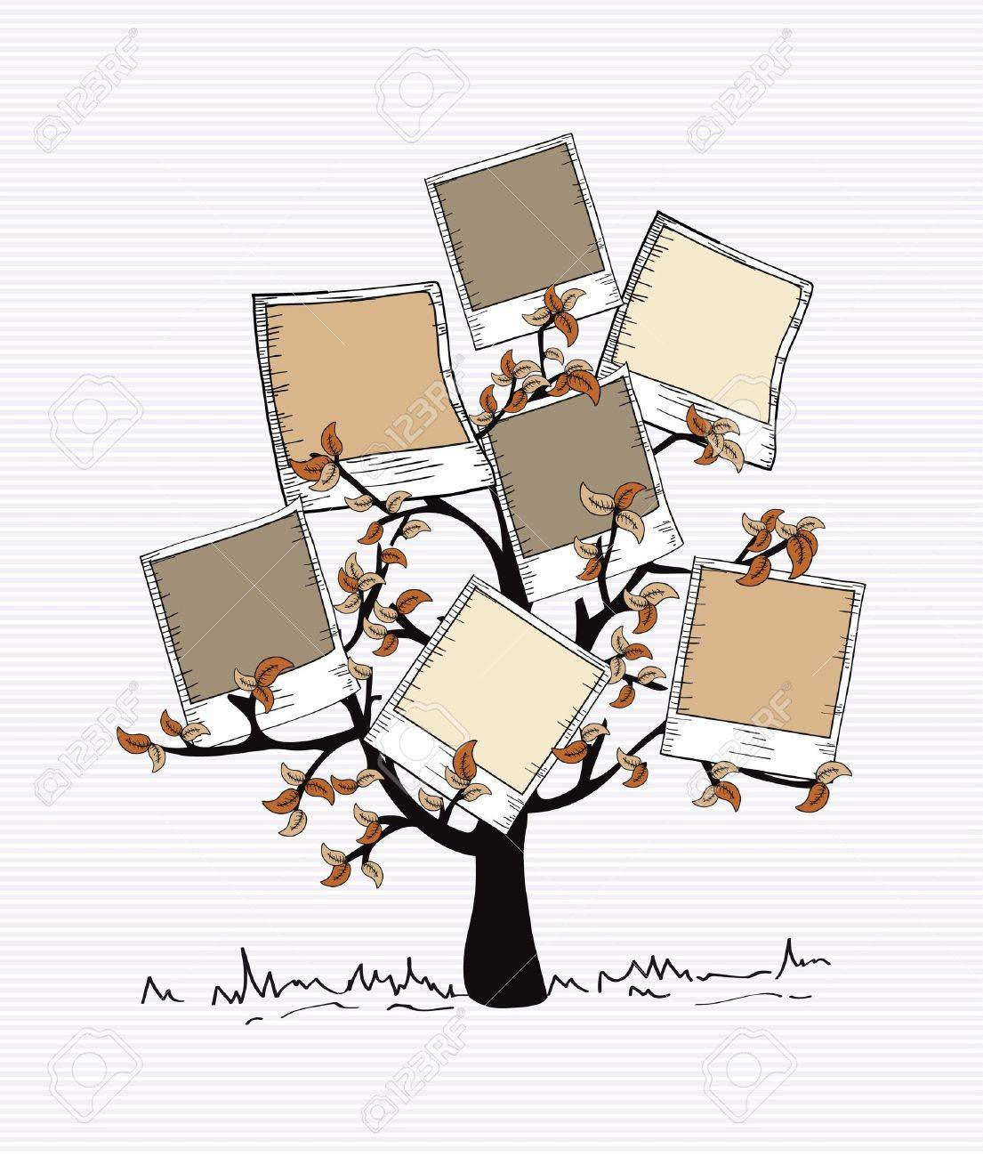 Brown instant photo leaf tree design. Stock Vector - 20607440