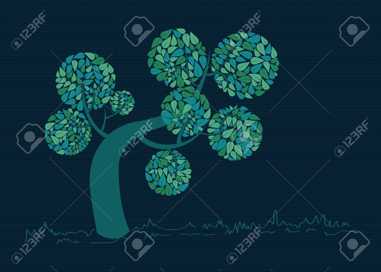 Blue branches leaf tree stripes background design. Stock Vector - 20607368