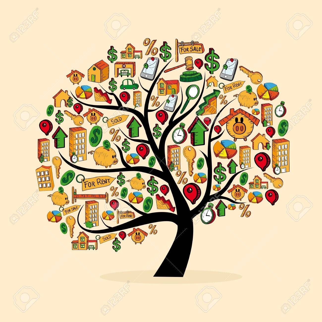 Real estate icons tree set isolated over white.  file layered for easy manipulation and custom coloring. Stock Vector - 20633443