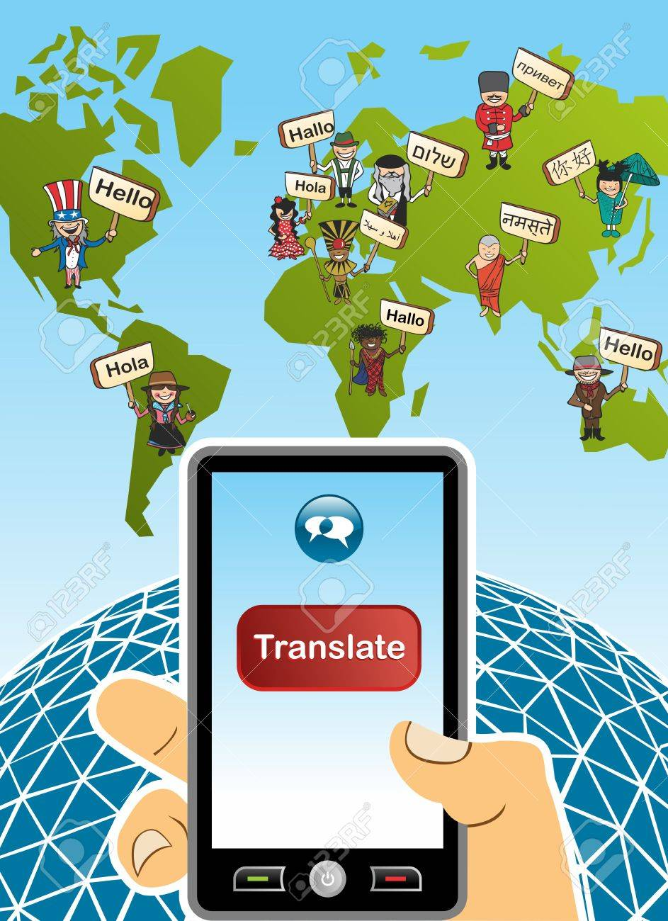 World map and hand with smartphone translation concept background