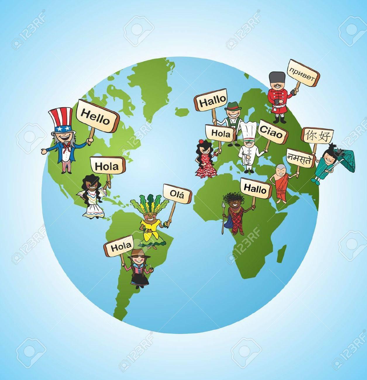 Welt Online Vielfalt Sprachlichen Übersetzung Konzept Hintergrund ...