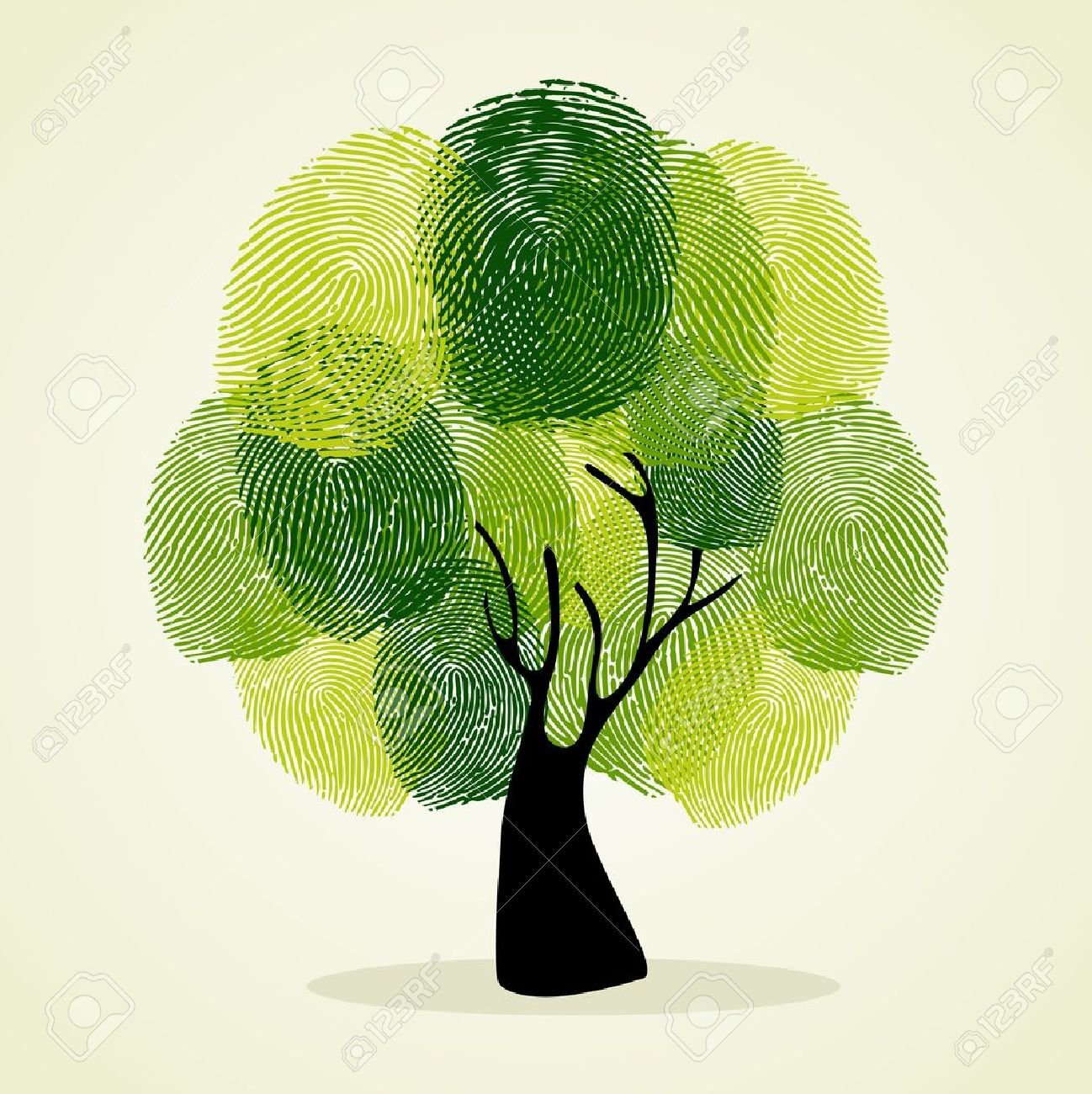 Go Green identity tree finger prints illustration. file layered for easy manipulation and custom coloring. - 20633229