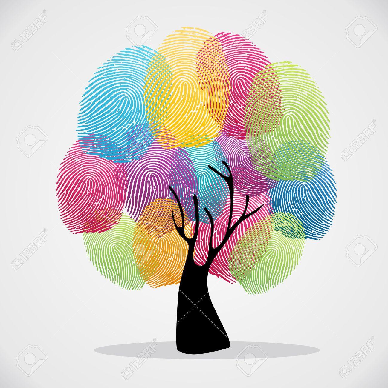 Diversity color tree finger prints illustration background set. file layered for easy manipulation and custom coloring. - 20633211