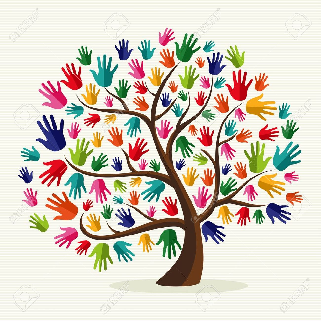 Diversity multi-ethnic hand tree illustration over stripe pattern background. file layered for easy manipulation and custom coloring. - 20633178