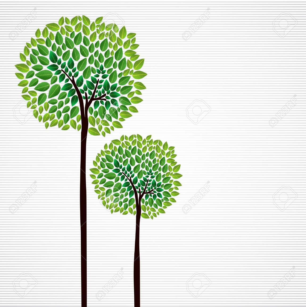 trendy isolated green trees forest drawing file layered for