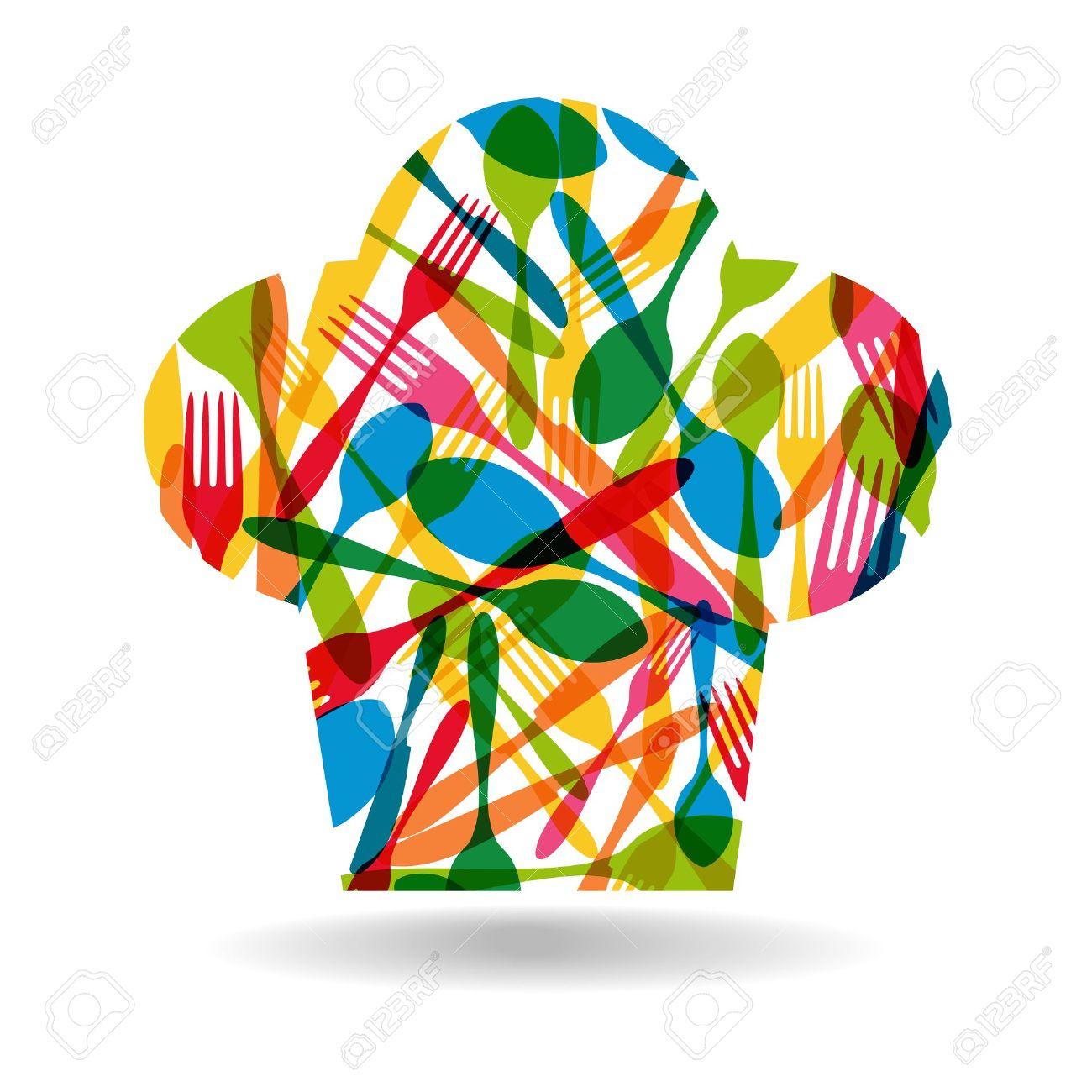Cocinero vajilla sombrero ilustración forma Patrón de colores. Foto de archivo , 21279909