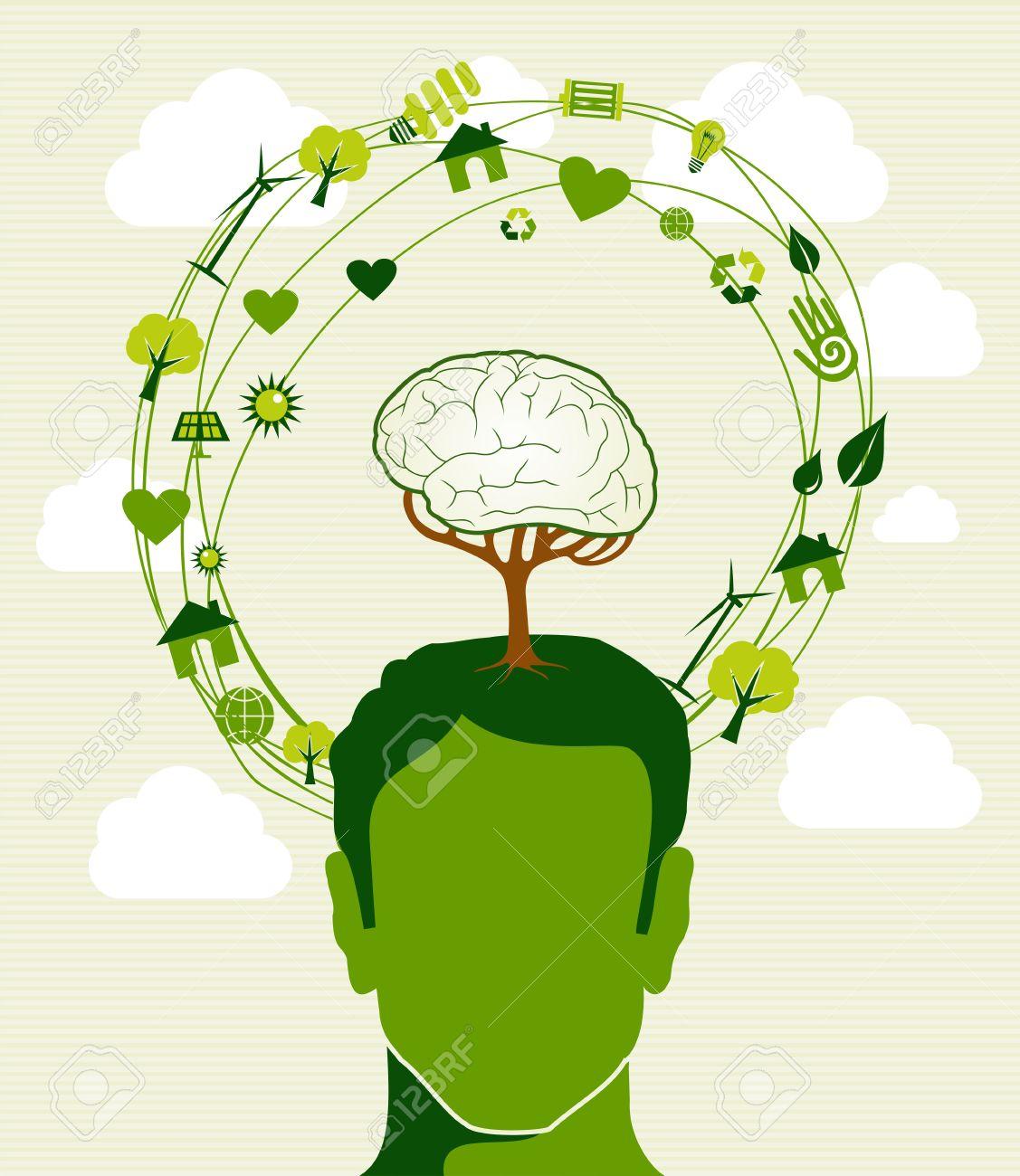 Cabeza Humana, árboles Cerebrales Iconos Verdes Ideas De Reciclaje ...