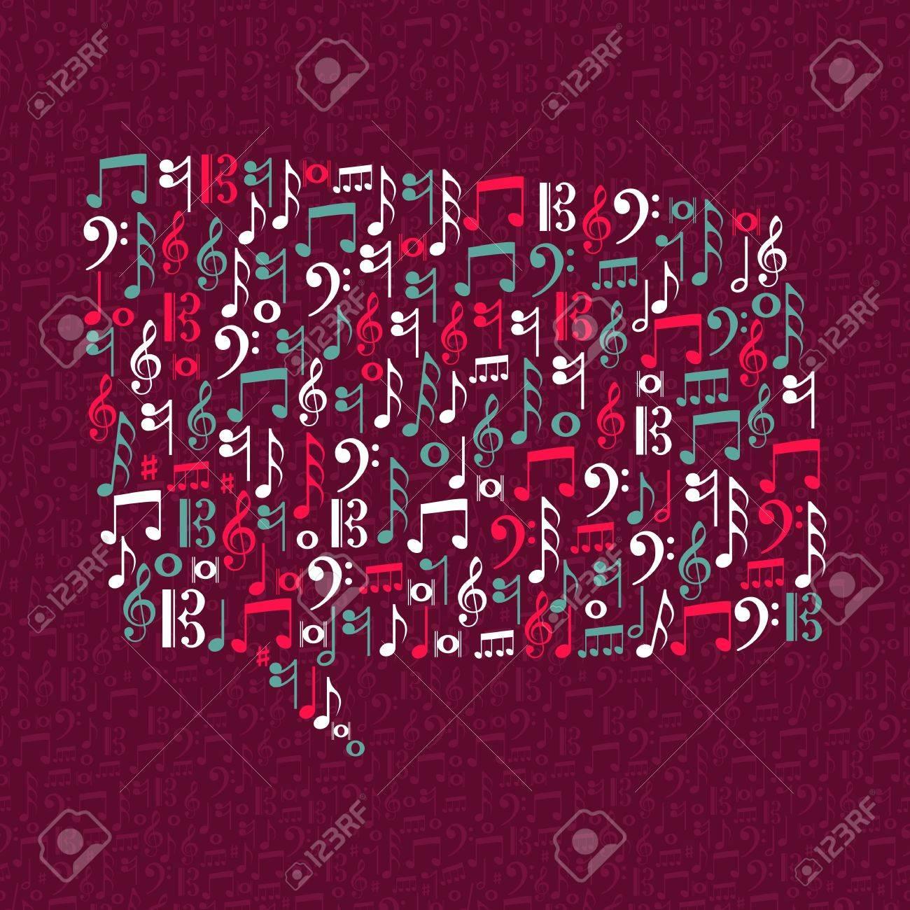 Social media bubble shape, music notes illustration. Stock Vector - 21280329