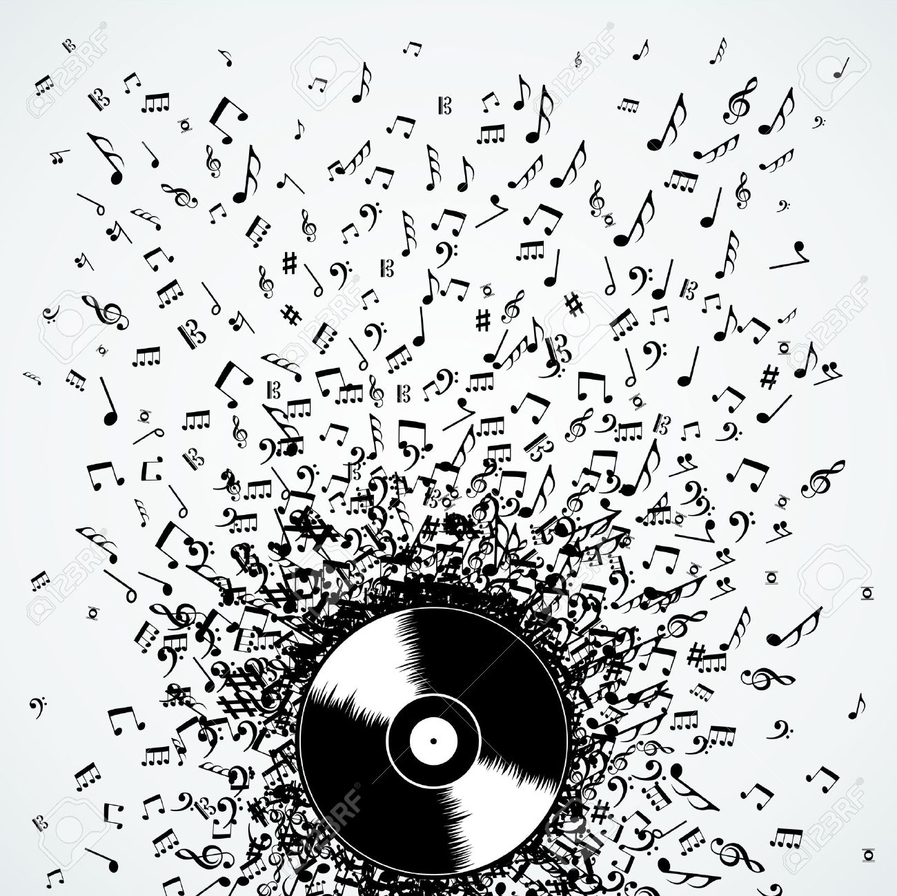 Dj vinyl record music notes splash illustration. Stock Vector - 21280332
