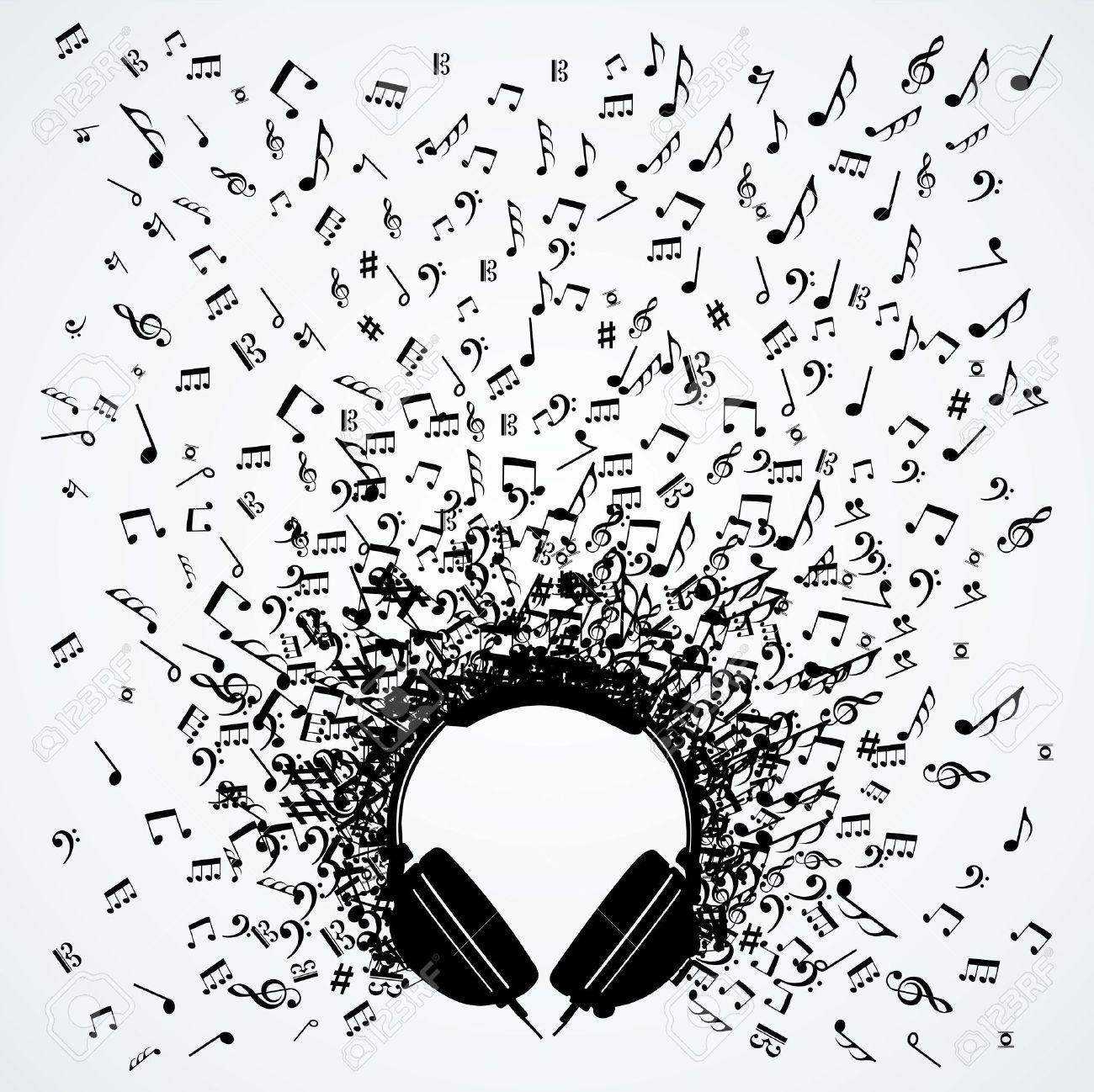 Dj headphones random music notes splash illustration. Stock Vector - 21280335
