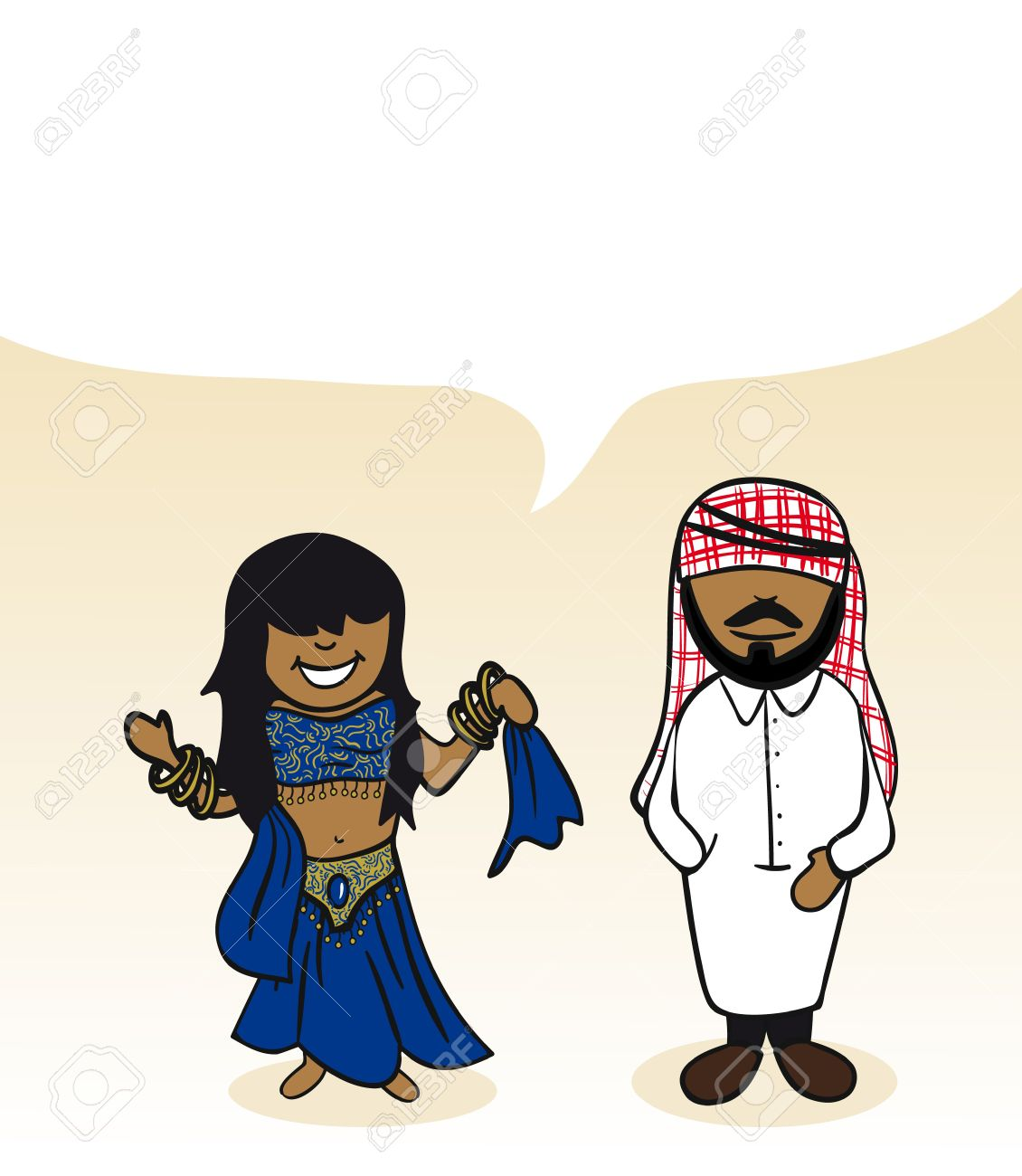 Arabian man and woman cartoon couple with social media bubble. Stock Vector - 21280303