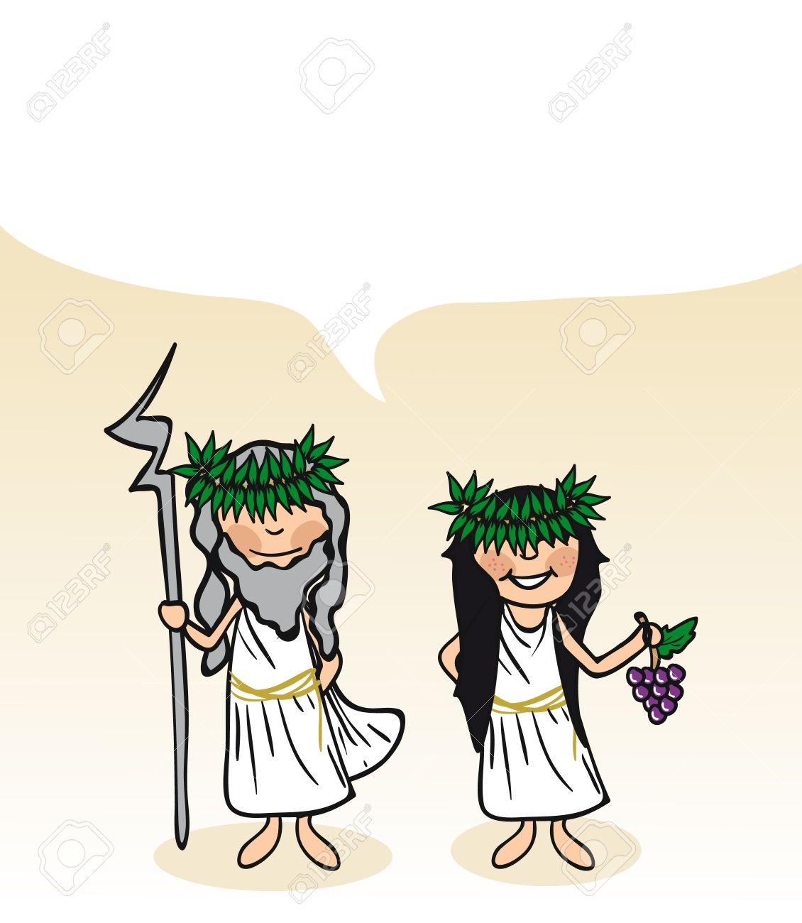 Greek man and woman cartoon couple with social media bubble. Stock Vector - 21280305