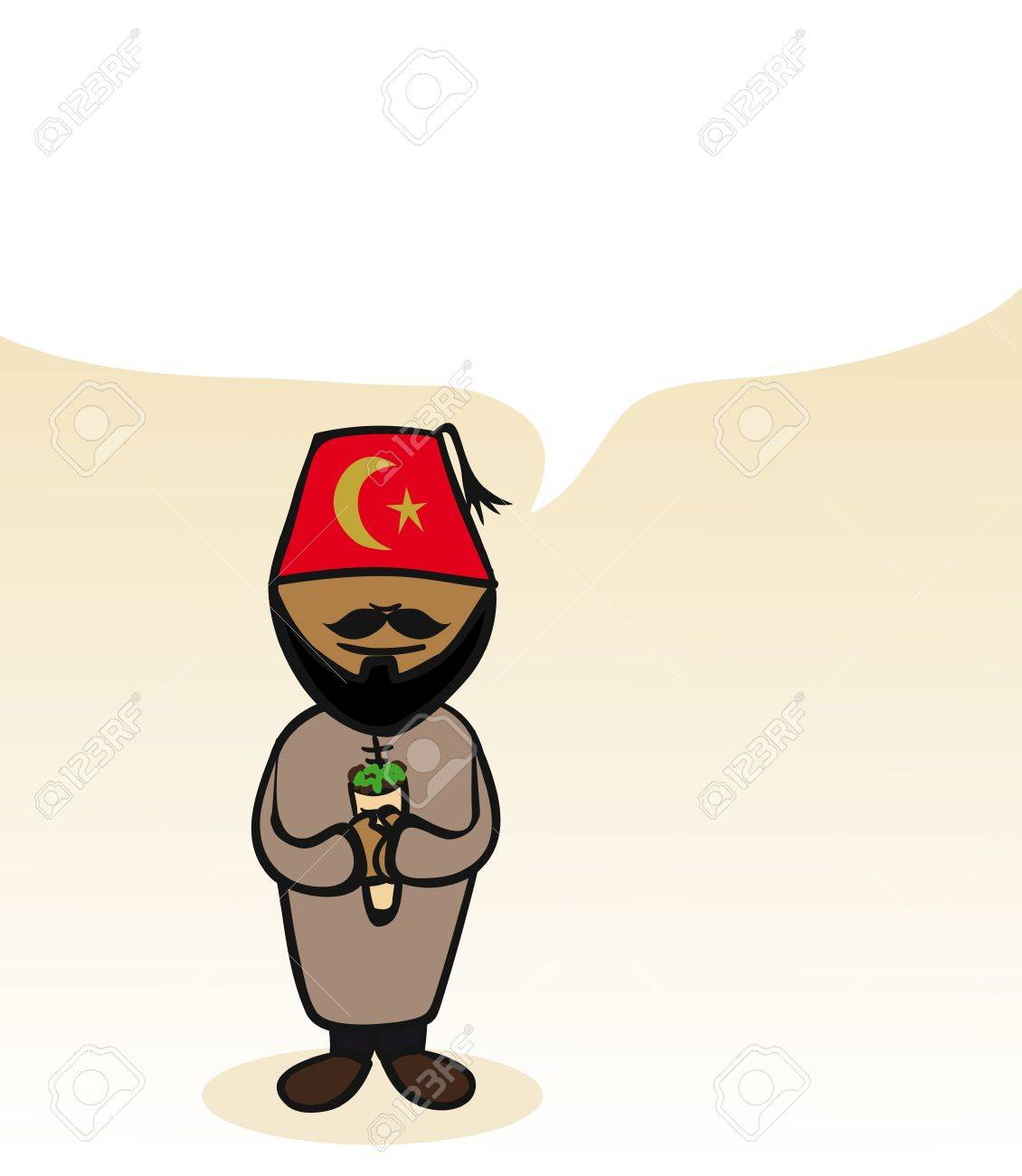 Turkish man cartoon couple with social media bubble. Stock Vector - 21280313