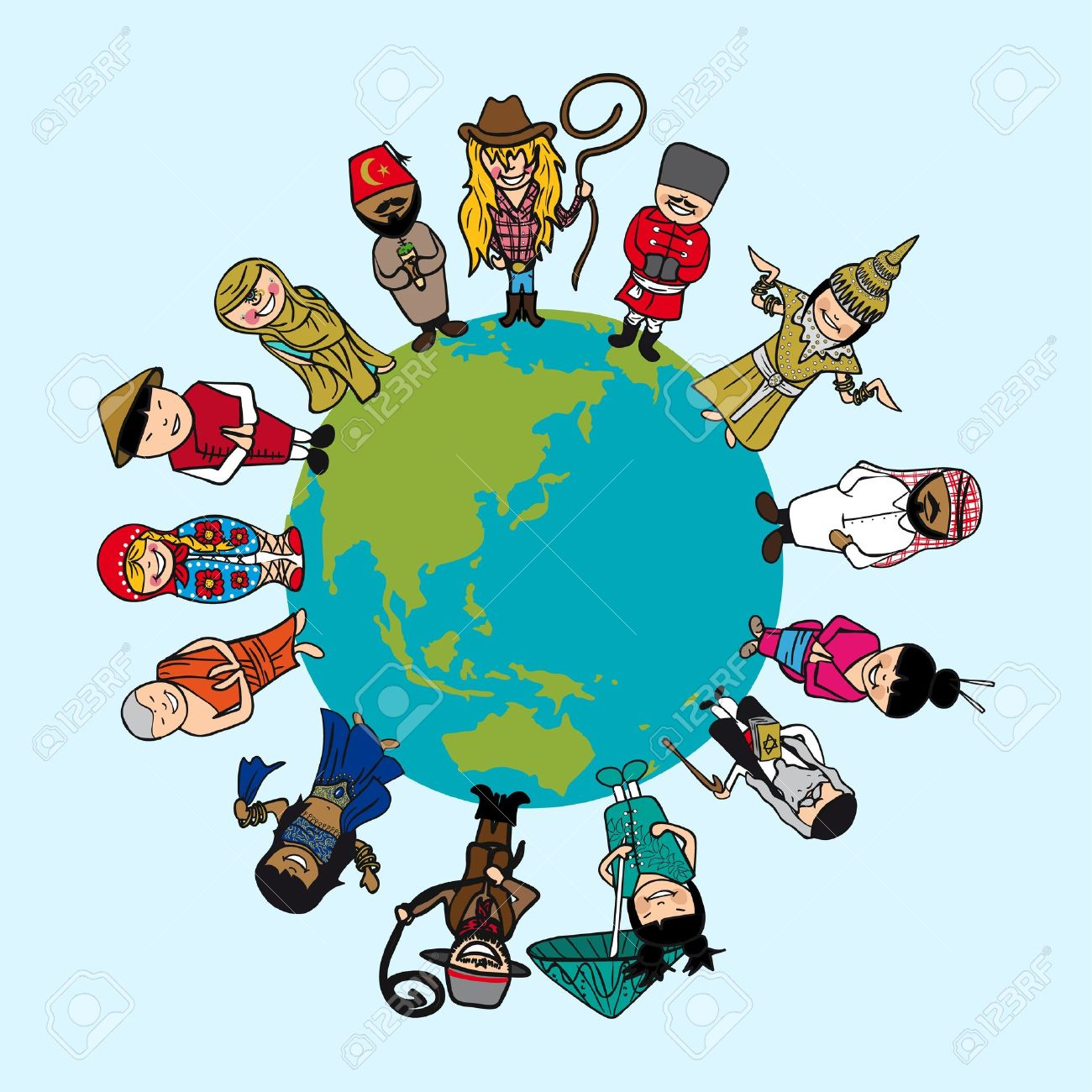 World Map, Diversity People Cartoons With Distinctive Outfit ...