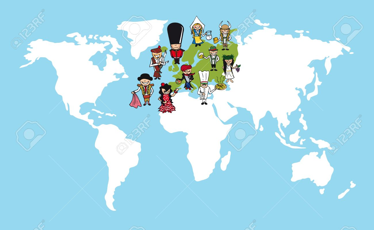Diversity concept world map group of people cartoon over european diversity concept world map group of people cartoon over european continent stock vector gumiabroncs Image collections