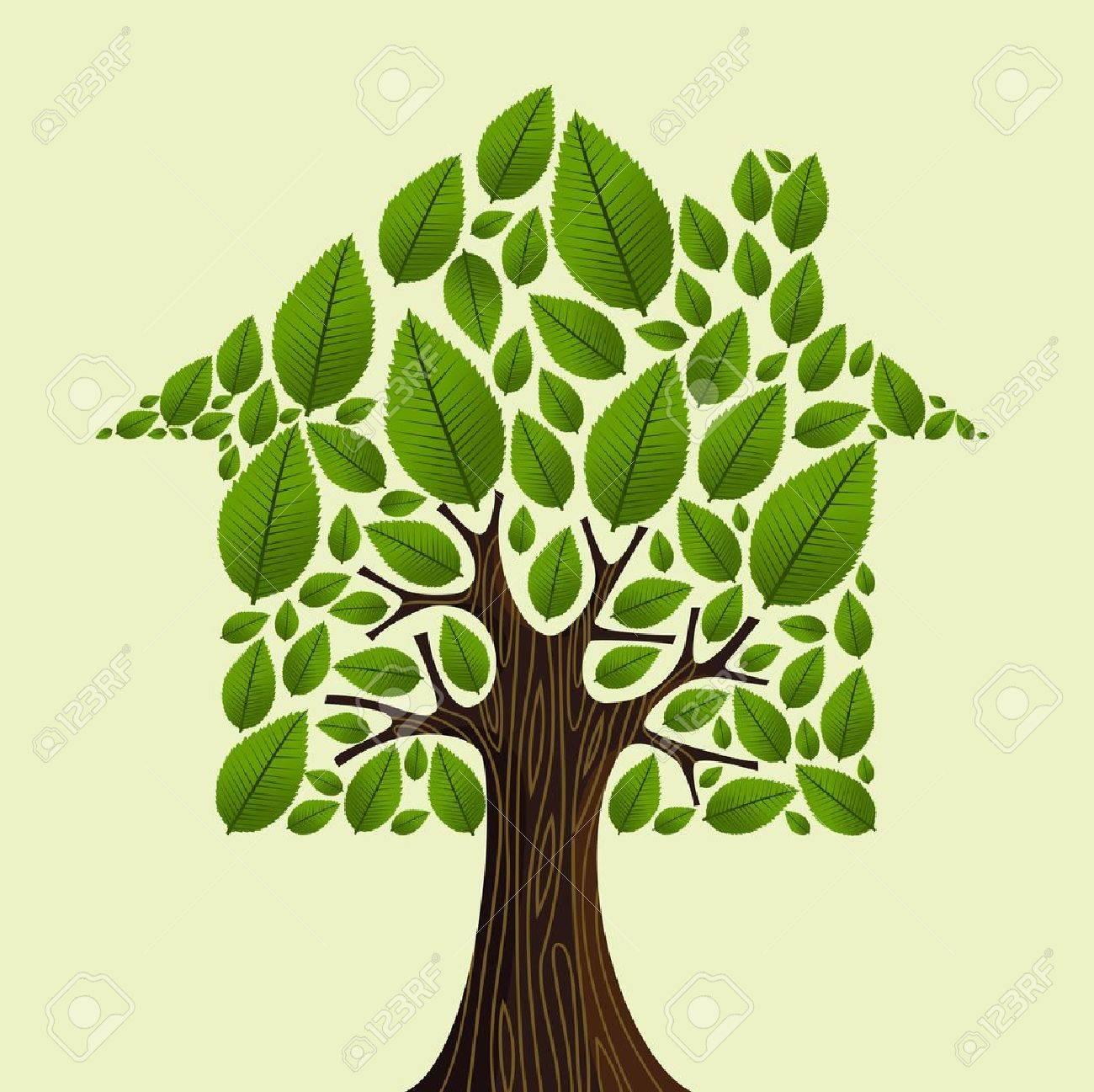 Real estate tree house green leaves illustration. Stock Vector - 21275410