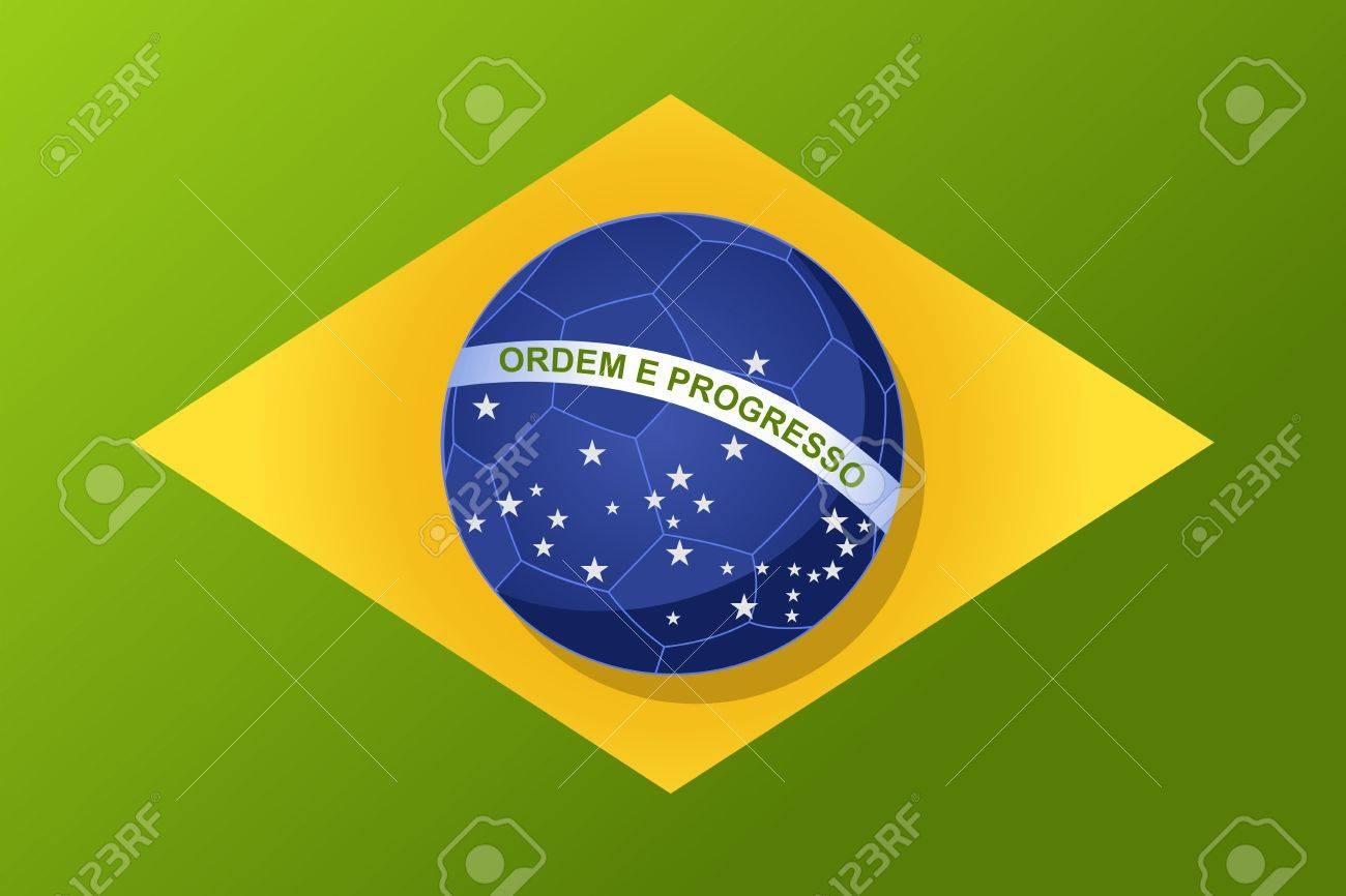 2014 In Brasilien Fußball Flagge Form, Welt Turnier Konzept ...