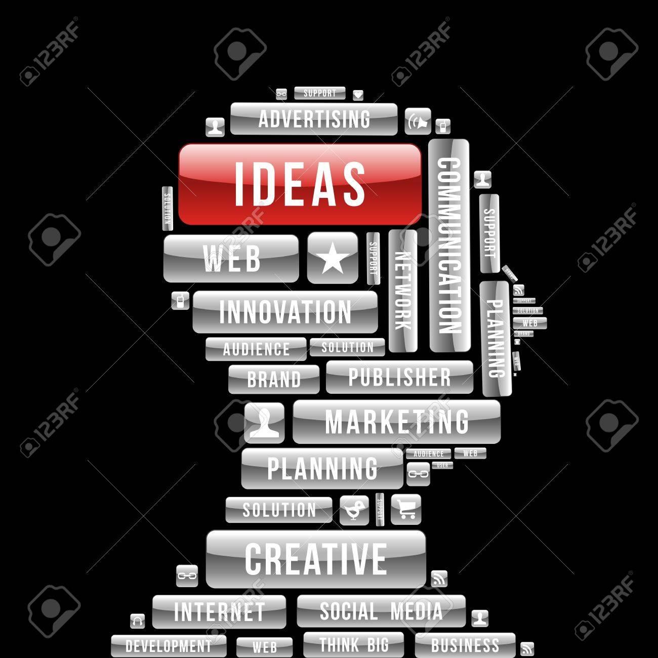 Marketing ideas human head  glossy web buttons. Stock Vector - 21280181