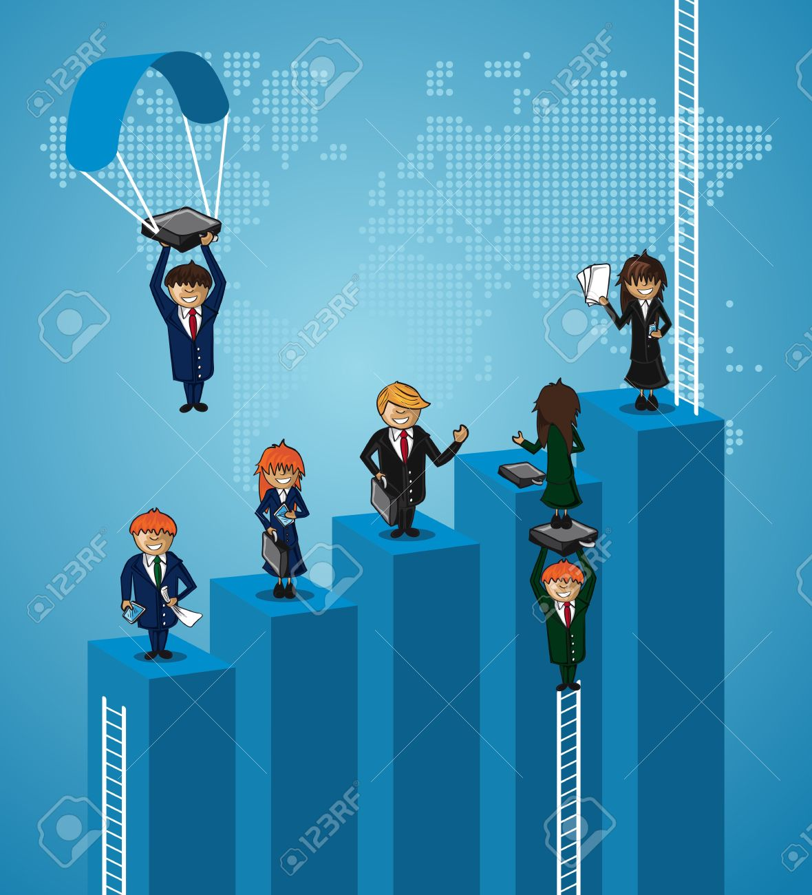 Teamwork world map business people with ladders concept  layered