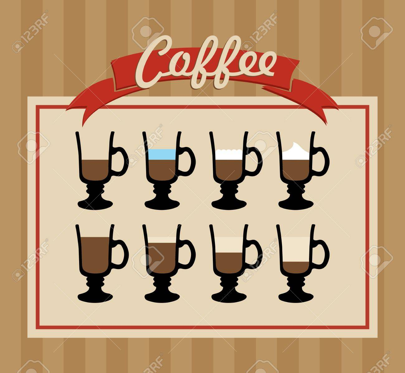 Vintage coffee label variety cups illustration. Vector file layered for easy manipulation and custom coloring. Stock Vector - 21439221