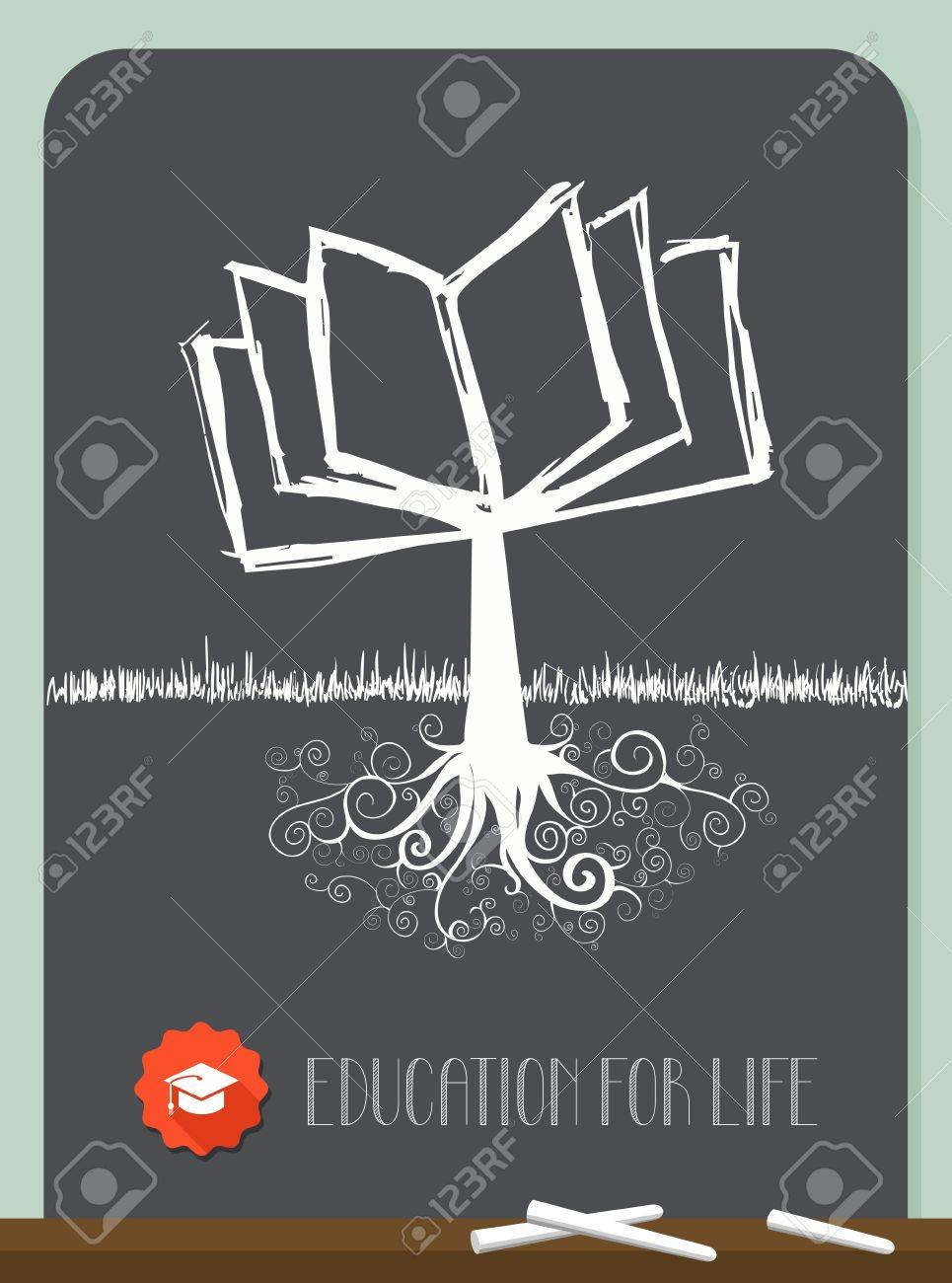 Education concept tree chalkboard illustration. layered for easy manipulation and custom coloring. Stock Vector - 21439399