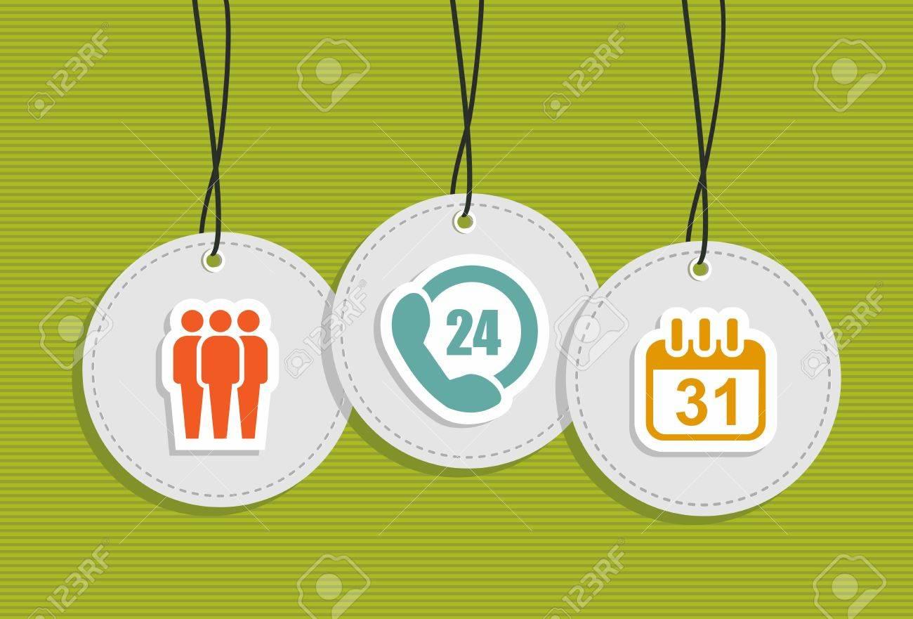 online customer assistance hang tags team work 24 hours calendar