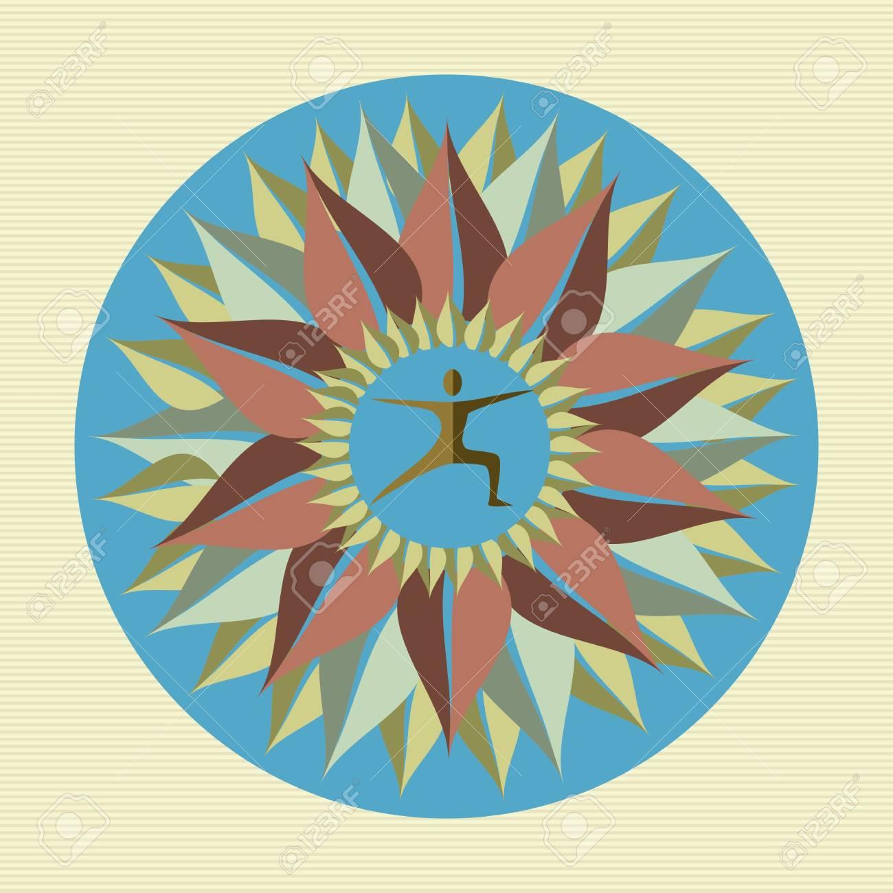 Circle leaves human mandala illustration Stock Vector - 21509461