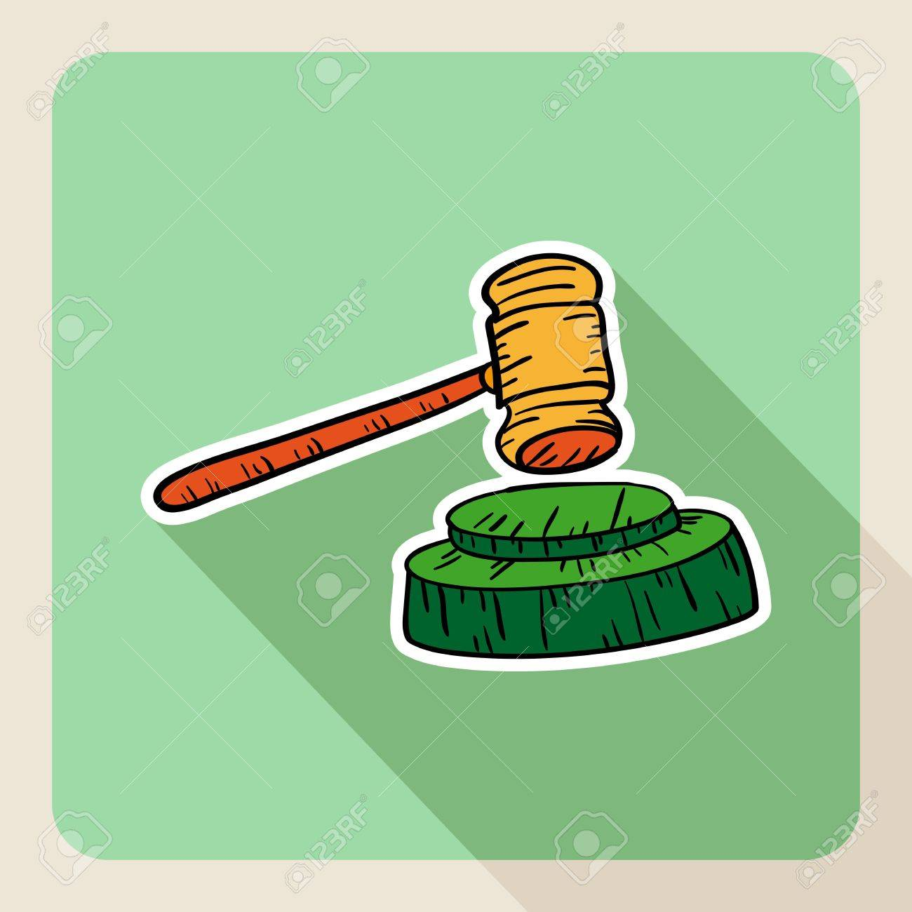 Real state property auction hammer hand drawn flat icon. Stock Vector - 21509530