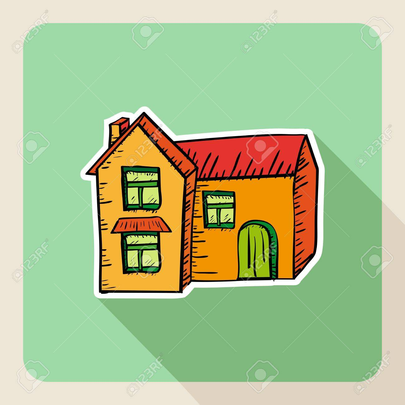 Hand drawn real estate house flat icon. Stock Vector - 21509537