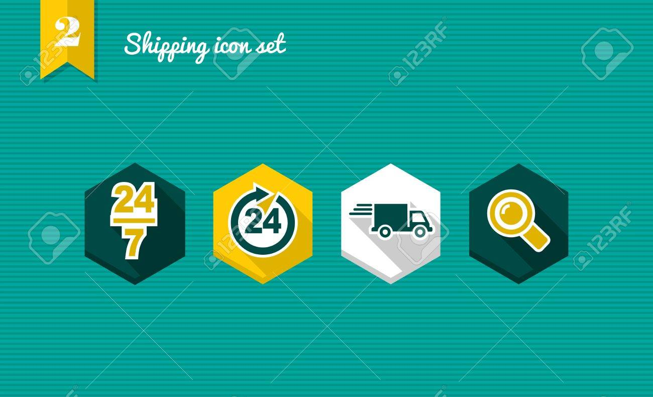 Colorful Shipping flat icon set, always open delivery shopping online app. Stock Vector - 21509198